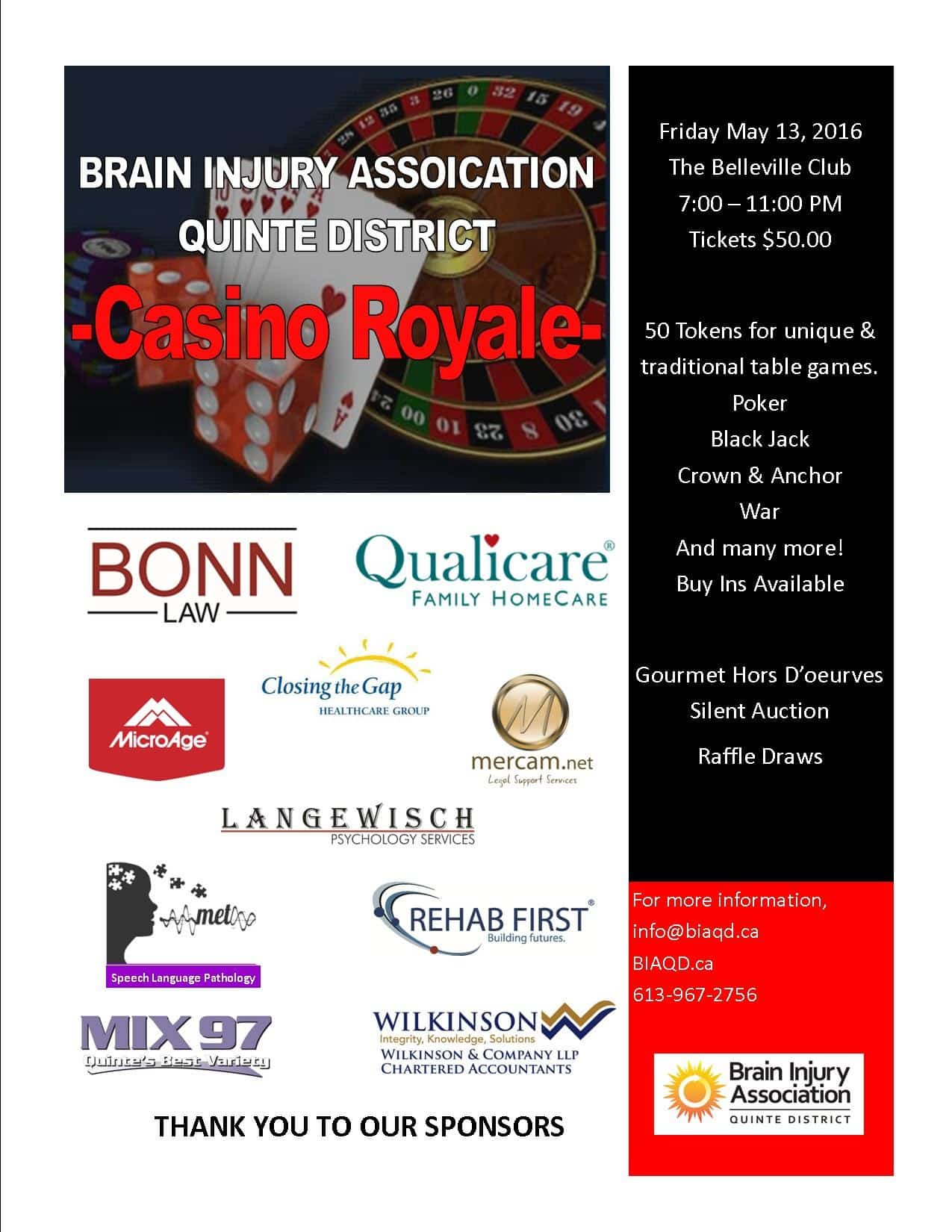 Brain Injury Association Belleville & Quinte District Casino Royale Night