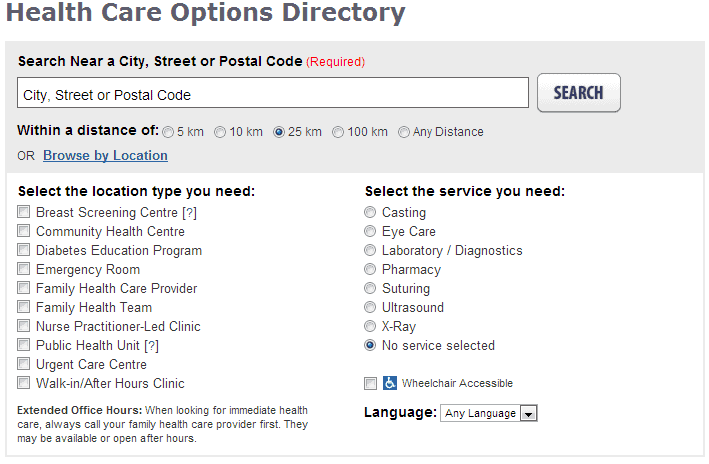 Health Care Options Directory