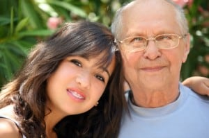 Young Woman Posing with Elderly Man